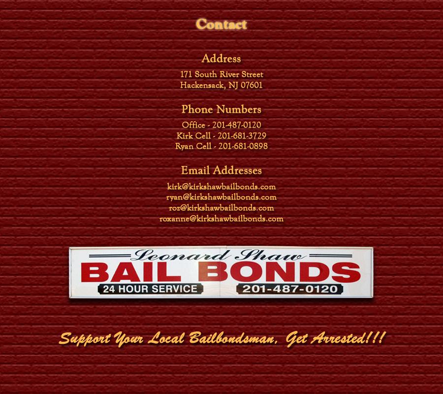 201-681-3729 - Kirk Shaw Bail Bonds Bergen County New Jersey - 201-487-0120